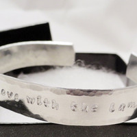 Hand Stamped Cuff Bracelet - Twilight - Lion Fell in Love with the Lamb - Customize with Your Wording