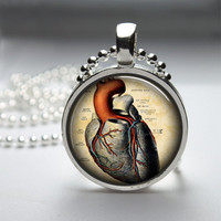 Round Glass Bezel Pendant Anatomical Pendant Heart Necklace Photo Pendant Art Pendant With Silver Ball Chain (A3733)