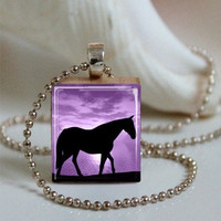 Scrabble Tile Pendant Horse Pendant Horse Necklace Resin Pendant With Silver Ball Chain (A1920)