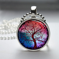 Round Glass Bezel Pendant Tree Pendant Tree Necklace Photo Pendant Art Pendant With Silver Ball Chain (A3150)