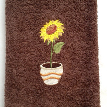 Sunflower in a Planter Embroidered on a Brown kKtchen or