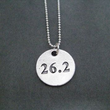 Pewter Round DISTANCE Pendant on Sterling Silver Chain - Choose 5K, 10K, 13.1 or 26.2 - Pewter pendant on Sterling Silver or Leather and Sterling Chain