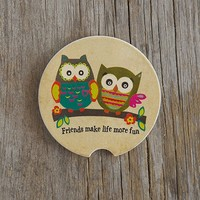 Owl  Gifts:  Owl  Friends  Car  Coaster  |  Natural  Life