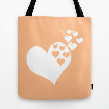 Peach Orange Hearts of Love Tote Bag by BeautifulHomes