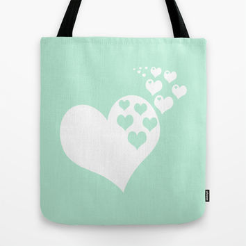 Mint White Hearts of Love Tote Bag by BeautifulHomes