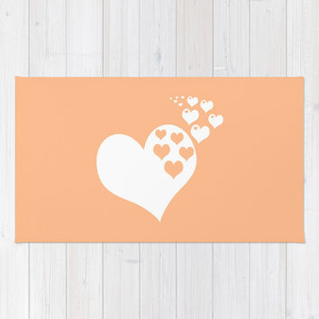 Peach Orange Hearts of Love Area & Throw Rug by BeautifulHomes