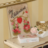 Dollhouse Valentines sign. Dollhouse miniature signs and cartels.