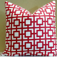 Decorative red and white geometric pillow cover,  18x18 pillow cover