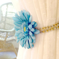 Shabby Chic Macrame Curtain Tiebacks, Soft Blue Floral Jute Macrame Drapery Hold Back, Rustic Country Living, Home Decor