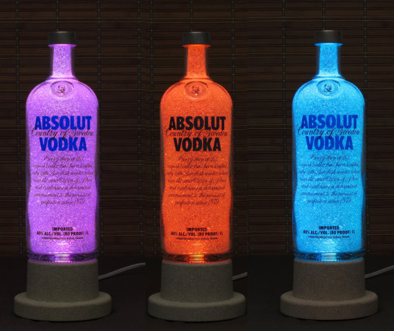 Absolut Vodka Color Changing LED Remote Controlled Eco Friendly rgb LED Bottle Lamp/Party Light / Intense Sparkle-Bodacious Bottles-