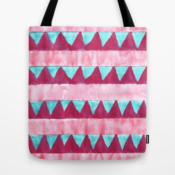Watercolor Turquoise Bunting on Raspberry Tote Bag by TigaTiga Artworks