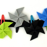 Hair Clips- Set of 6 multicolor pinwheel hair clips