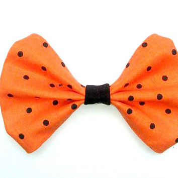 Halloween Polka Dot Hair Bow