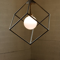 Geometric Chandelier Large Chandelier Glass Globe Steel and Walnut Rus