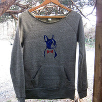 you handsome devil Boston Terrier Sweatshirt in Olive, S,M,L,XL