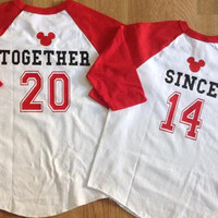 Free/Fast  Shipping Disney Inspired Couples Baseball TShirts His and Hers Together Since Shirts