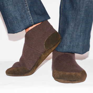 Unisex Cashmere Slippers from Recycled Materials, Eco-friendly Men & Women Cashmere and Leather…