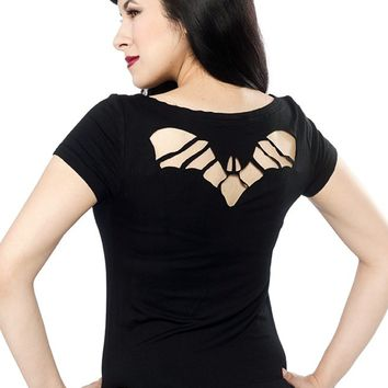 "Women's ""Bat"" Cutout Top by Sourpuss Clothing (Black)"