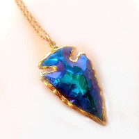 Titanium Aura Arrowhead Necklace - 24k Gold Electroplated trim - Long Necklace Length options - Mystic Blue - Peacock - Blue Green
