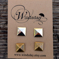 Pyramid Stud Earrings Set of Two Pairs