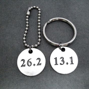 DISTANCE Round Pewter Pendant Key Chain / Bag Tag - Choose 5K, 10K, 13.1, 26.2 or XC - Choose 4 inch Ball Chain or Round Key Ring - Available only at The Run Home - Runner Key Chain