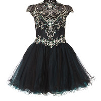 PRECIOUS - Black and emerald mesh prom dress with fully beaded bodice detail in emerald jewels
