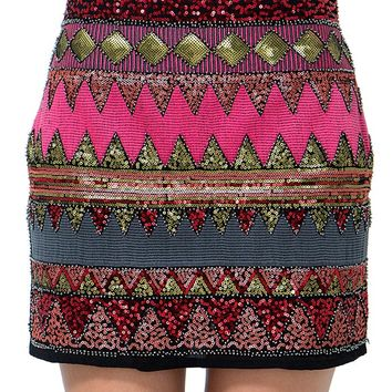 All Over Aztec Sequin Skirt