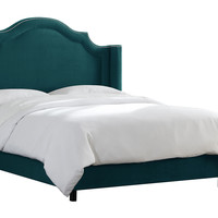 Tory Upholstered Wingback Bed, Peacock, Wing Beds