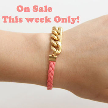 Arm Candy - Gold chunky chain with pink leather braid Bracelet - 24k gold plated