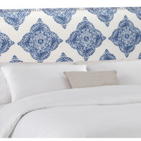 Ellis Nail-Trim Headboard, Indigo/White, Panel Beds
