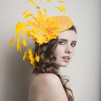 Golden/yellow Cocktail hat by ArturoRios on Etsy