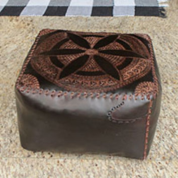 Leather ottoman cover, 'Floral Magnificence'