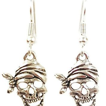 Surgical Steel Dangle Earrings Pirate Skull Silver Color