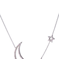 Vanessa Mooney Only In Your Dreams Cut Out Moon & Star Necklace Silver One