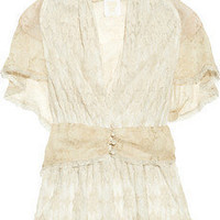 Anna Sui | Cotton-blend lace and silk-chiffon top | NET-A-PORTER.COM
