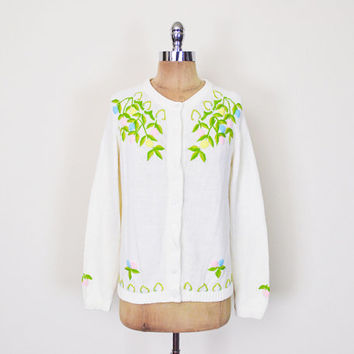 Floral Embroider Cardigan Ivory Embroider Sweater 50s Cardigan 50s Sweater 60s 70s Pin Up Sweater Pinup Sweater Mad Men Sweater M Medium