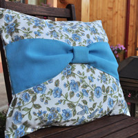 Blue bow pillow