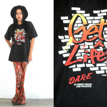 Vintage 90s DARE Drug Free Black Get A Life T Shirt // Hipster Grunge Boho // XS Extra Small / Small / Medium / Large