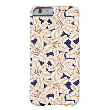 White Tiger Lily Flower Pattern iPhone 6 Case