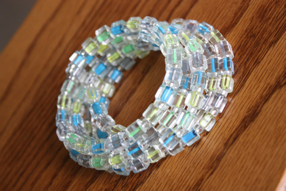 Green, Yellow, and Blue Glass Memory Wire Beaded Bracelet