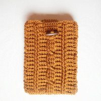 Mini Tablet or e-Reader Cozy in Honey, Crochet Cable Stitch, ready to ship.