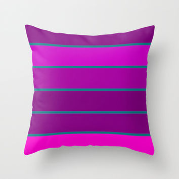 Fuchsia & Teal Stripes Throw Pillow by 2sweet4words Designs | Society6