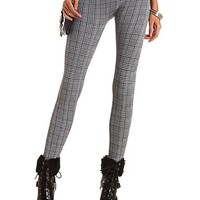 FLEECE-LINED HOUNDSTOOTH PLAID LEGGINGS