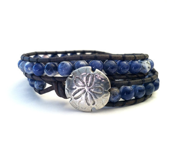Sand Dollar Sodalite Leather Wrap Bracelet, Denim