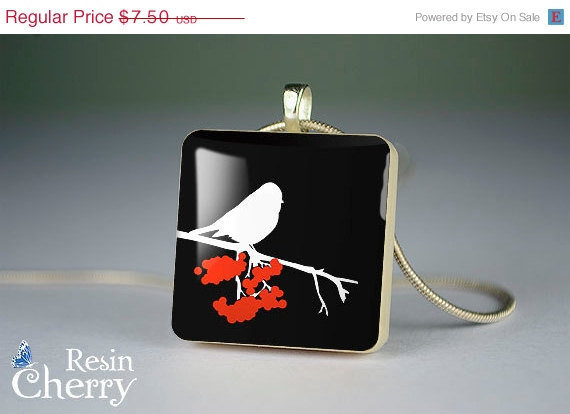 ON SALE: bird scrabble tile necklace,art photo charm,exquisite jewelry pendants,resin pendants- A0271SP