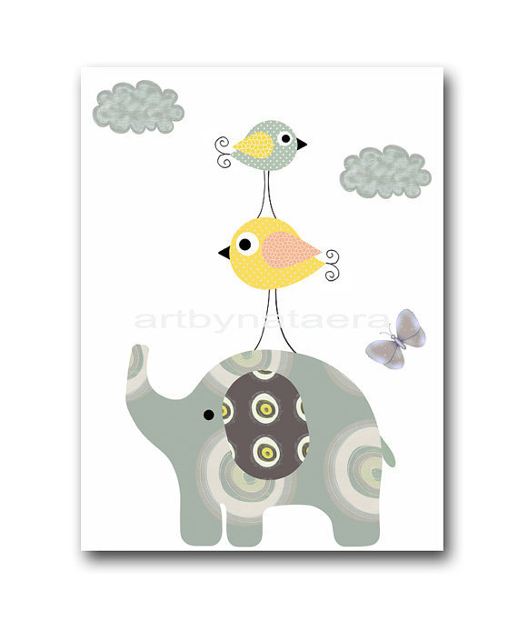 "Art for Children , Kids Wall Art, Baby Girl Room Decor, Nursery print 8"" x 10"" Print,decoration,birds,elephant,artwork,illustration"
