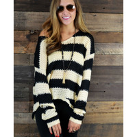 Fashionably Late Black Striped Knit Sweater