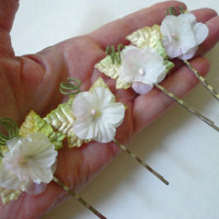 Set of Four Bobby Pins, Flower and Ivy