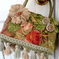 Greens and Reds Decorated Handbag, Bohemian Syle