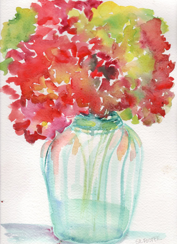 Another Hydrangeas flowers Painting,  Original Watercolor, Red and Green petals